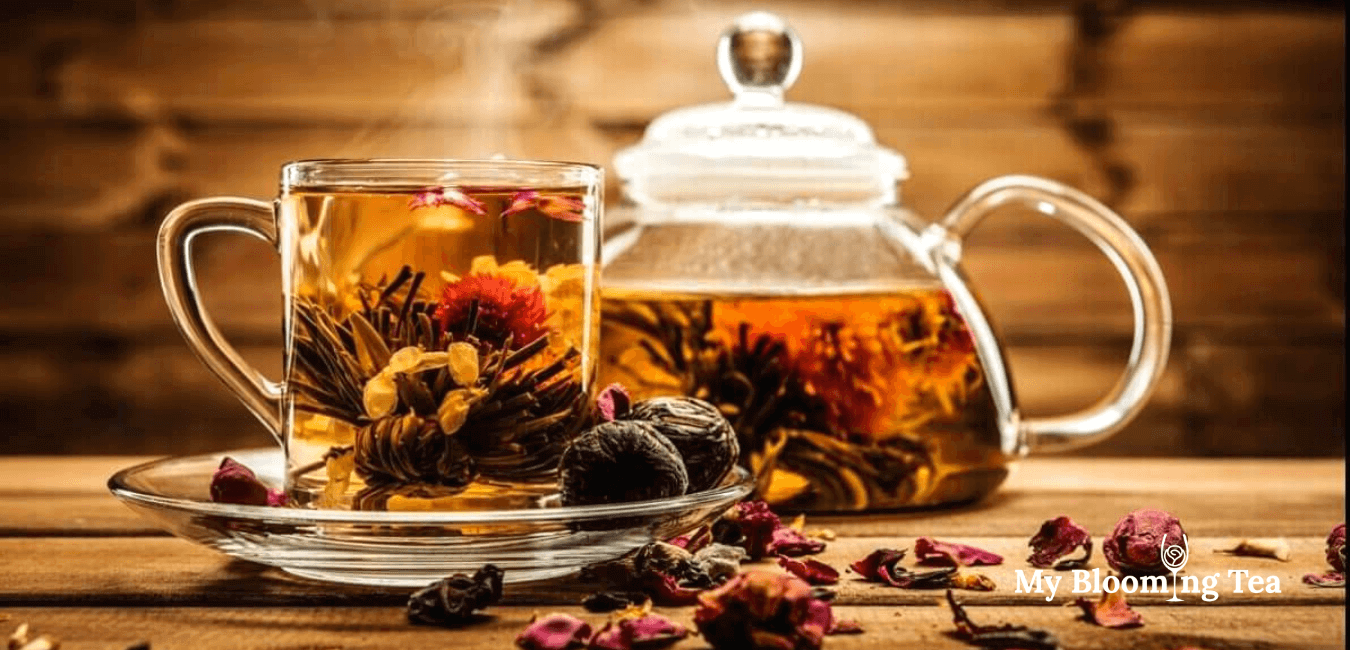 blooming tea glass teapot